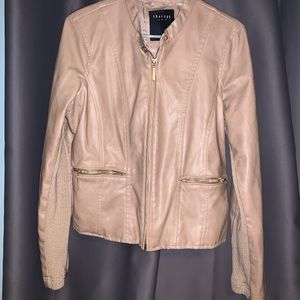 Faux leather pink jacket with zipper size medium